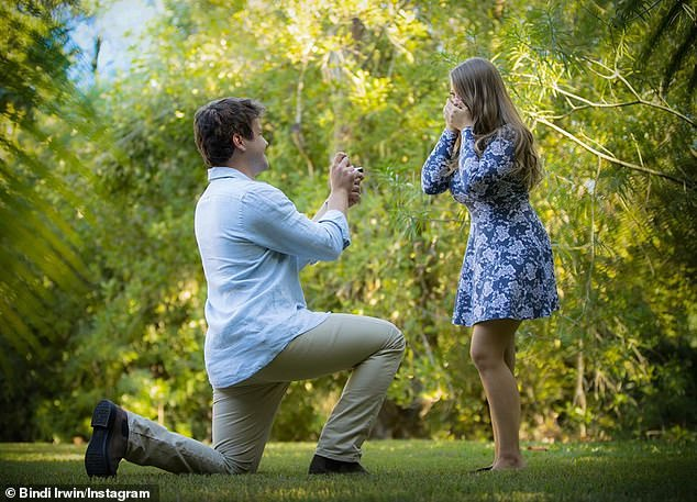 Happily ever after: Chandler proposed to Bindi on her 21st birthday, getting down on one knee and presenting her with a stunning diamond ring