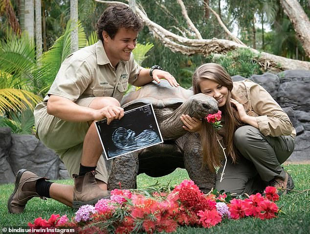 It's a girl:In September, Bindi revealed she was having a girl, sharing a photo of herself and Chandler with one of Australia Zoo's tortoises, surrounded by pink flowers