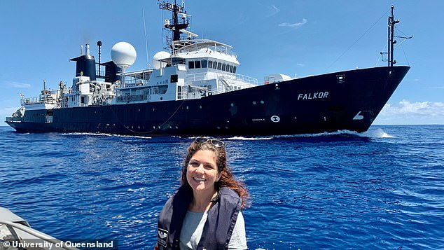 Australian and US experts have just spent 28 days at sea on the research vessel Falkor (pictured, with expedition leader Derya Gürer in the foreground) mapping the depth of the ocean floor at Zealandia's north-western edge, in theCoral Sea Marine Park