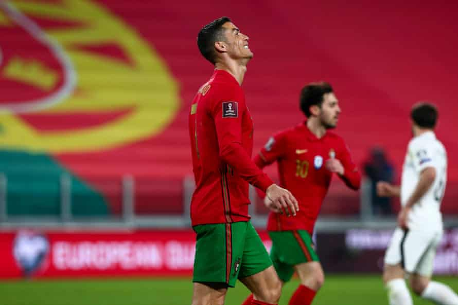 Cristiano Ronaldo rues a missed chance.