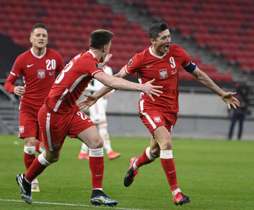 With his only chance of the match, Robert Lewandowski scores the third goal for Poland against Hungary.