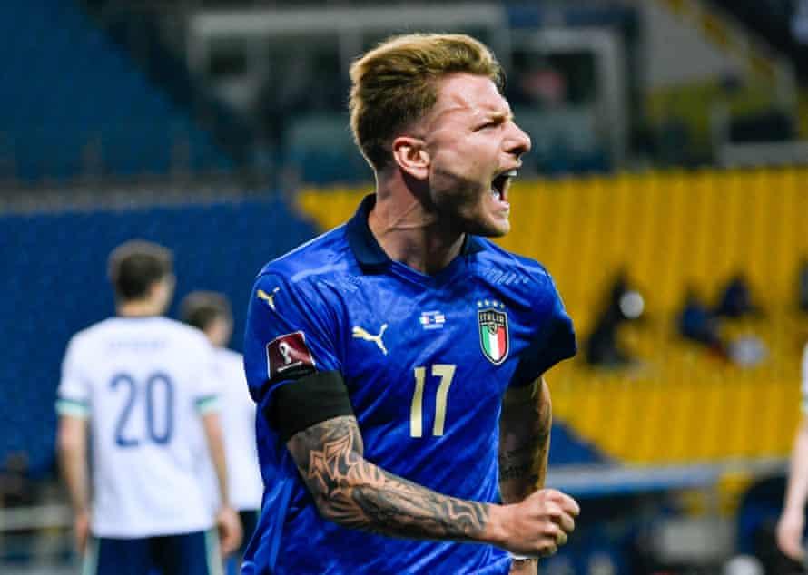 Ciro Immobile celebrates scoring Italy's second goal against Northern ireland.