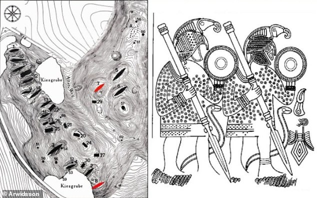 Left, map of the Valsgärde hillside with numbered burials. The investigated sites are marked in red. Right: Warriors on a metal sheet from the helmet at Valsgärde 7, with birds of prey on their helmets