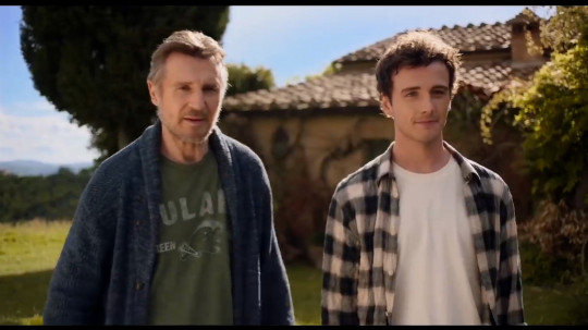 Neeson plays Robert, returning to Italy with estranged son Jack (Richardson) to sell a house they inherited from Robert's late wife (Picture: Amazon Prime)
