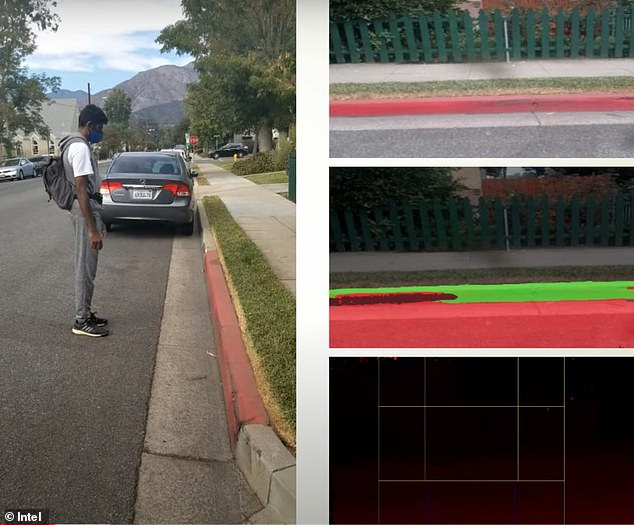 While otherhigh-tech visual-assistance programs 'lack the depth perception necessary to facilitate independent navigation,'Mahendran's invention can tell a user if they're about to reach a curb or incline