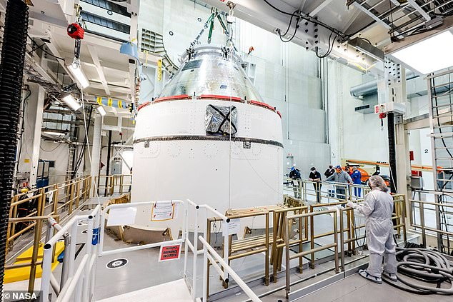 Orion (pictured) is designed to carry up to six crew members and can operate for up to 21 days undocked and up to six months docked