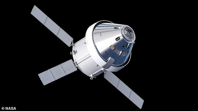 In November, NASA detected a failure with a component in one of Orion's power data units, but indicated that wouldn't delay the Artemis I launch. Pictured: A rendering of Orion in orbit