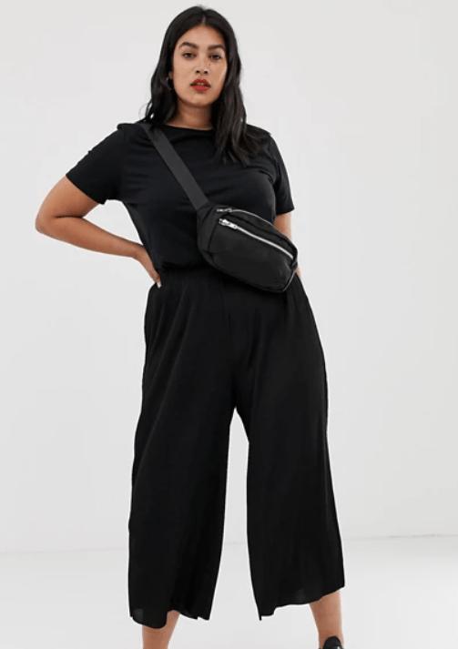 ASOS DESIGN Curve plisse culotte trousers