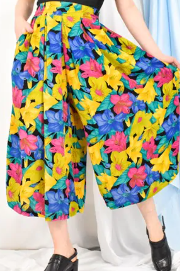 Vintage 90s Boho Floral Multicolour Culottes