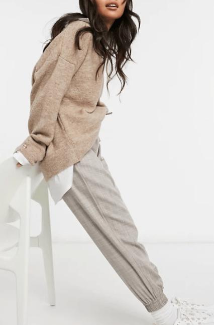 ASOS DESIGN Petite textured suit jogger