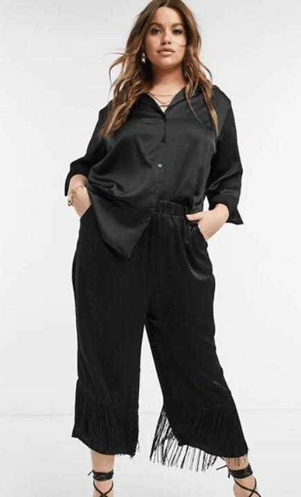 Elvi Plus satin culottes with fringe in black