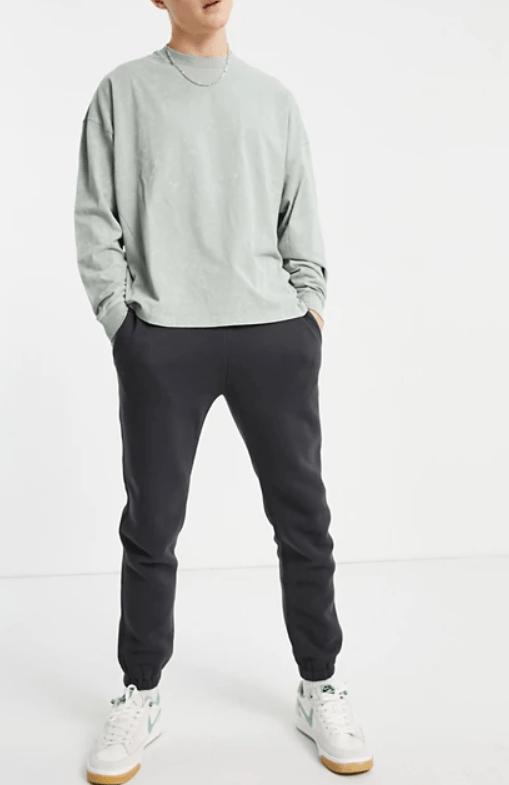Abercrombie & Fitch mini puff logo cuffed joggers in dark grey
