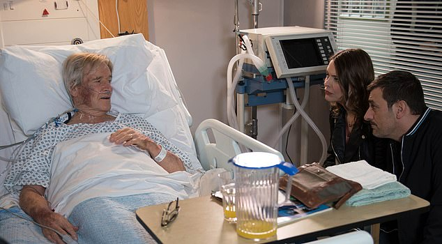 Long-standing star:The veteran actor, 88, has recovered well and has said he is looking forward to returning to the long-running soap as soon as possible (pictured on Coronation Street in 2017)