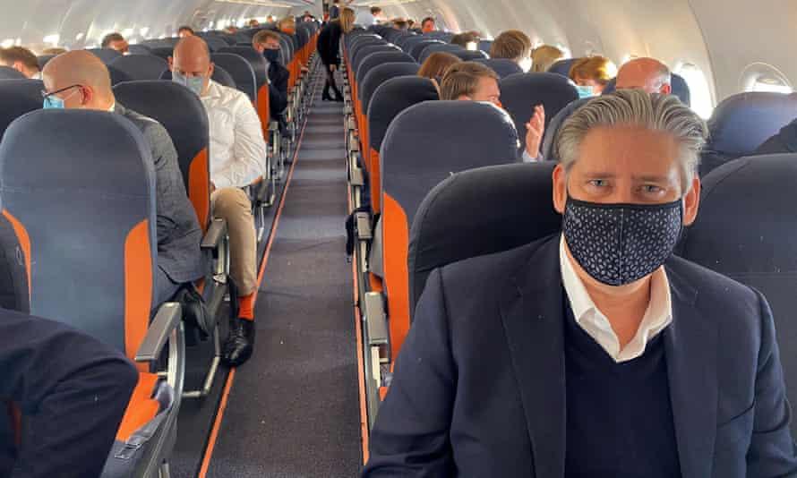 Johan Lundgren on a flight to Berin in October last year.