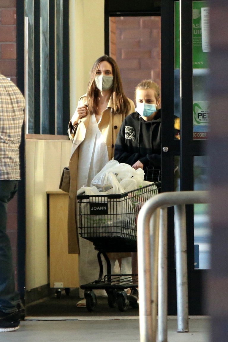 Angelina Jolie and Shiloh shopping