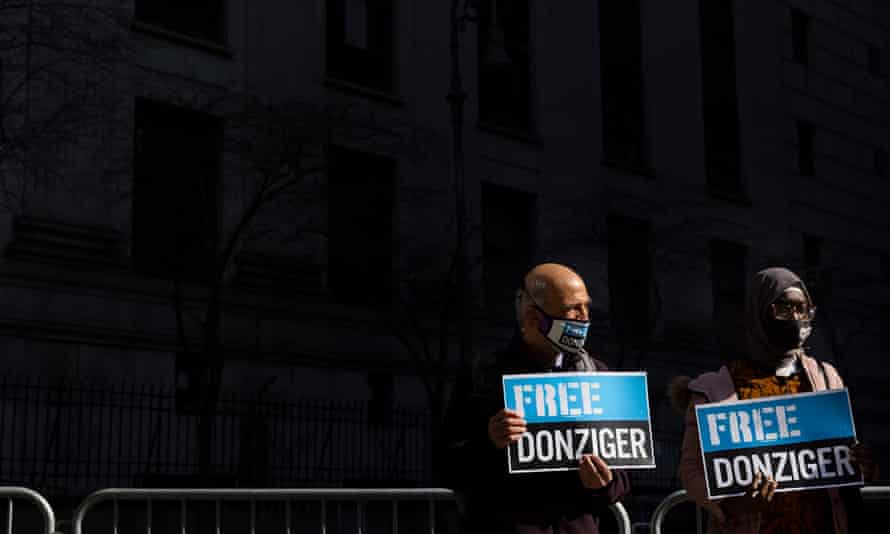 Steven Donziger supporters show their support outside the federal courthouse in New York.