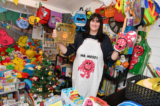 Michelle in her summerhouse with her Mr Men collection