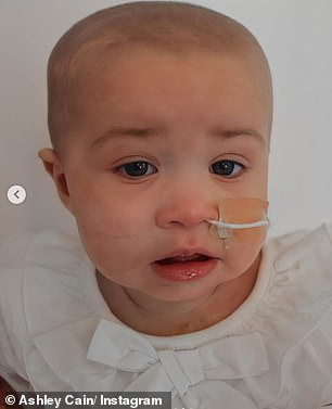 Baby girl: The former Ex On The Beach star, 30, took to social media to ask fans for help in donating, explaining the treatment his daughter needs is only available in Singapore