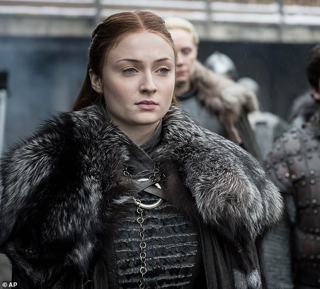 Popular show: Sophie made her acting debut portraying Sansa Stark on the HBO fantasy show Game Of Thrones and is shown in a July 2019 still from the final episode