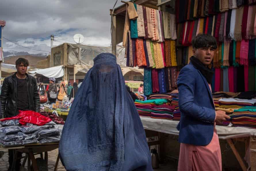 A local woman wearing a burka in Bamyan's bazaar.