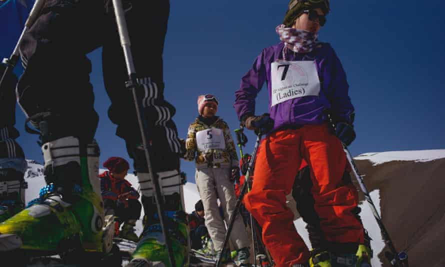 Competitors wait at the top of the hill before competing in the Afghan Ski Challenge
