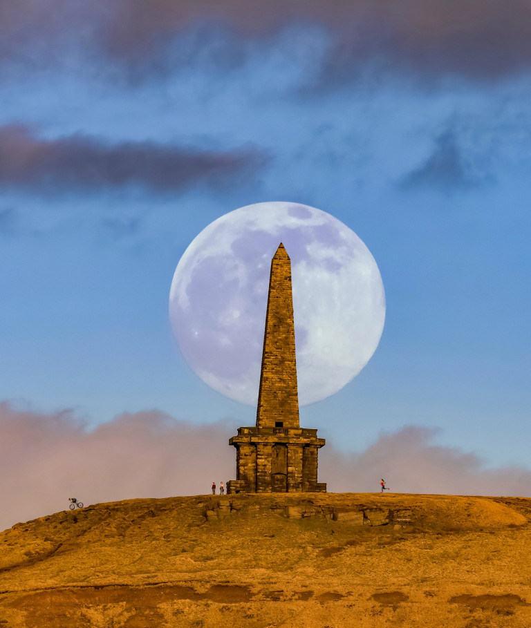 Picture supplied by Lee Mansfield/Bav Media 07976 880732. Picture dated March 27th shows the Worm Moon rising on a clear Saturday evening over Stoodley Pike, Todmorden, West Yorkshire. It is known as a Worm Moon due to the worms coming out of the ground in the warmer spring weather.