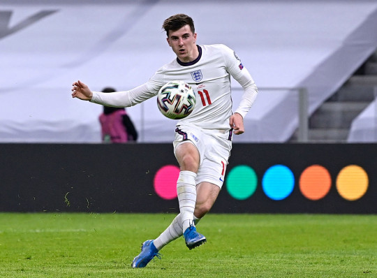 Mason Mount of England scores their side's second goal during the FIFA World Cup 2022 Qatar qualifying match between Albania and England at the Qemal Stafa Stadium on March 28, 2021 in Tirana, Albania. Sporting stadiums around Europe remain under strict restrictions due to the Coronavirus Pandemic as Government social distancing laws prohibit fans inside venues resulting in games being played behind closed doors.
