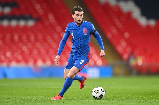 Ben Chilwell runs with the ball during the World Cup 2022 qualifier between England and San Marino
