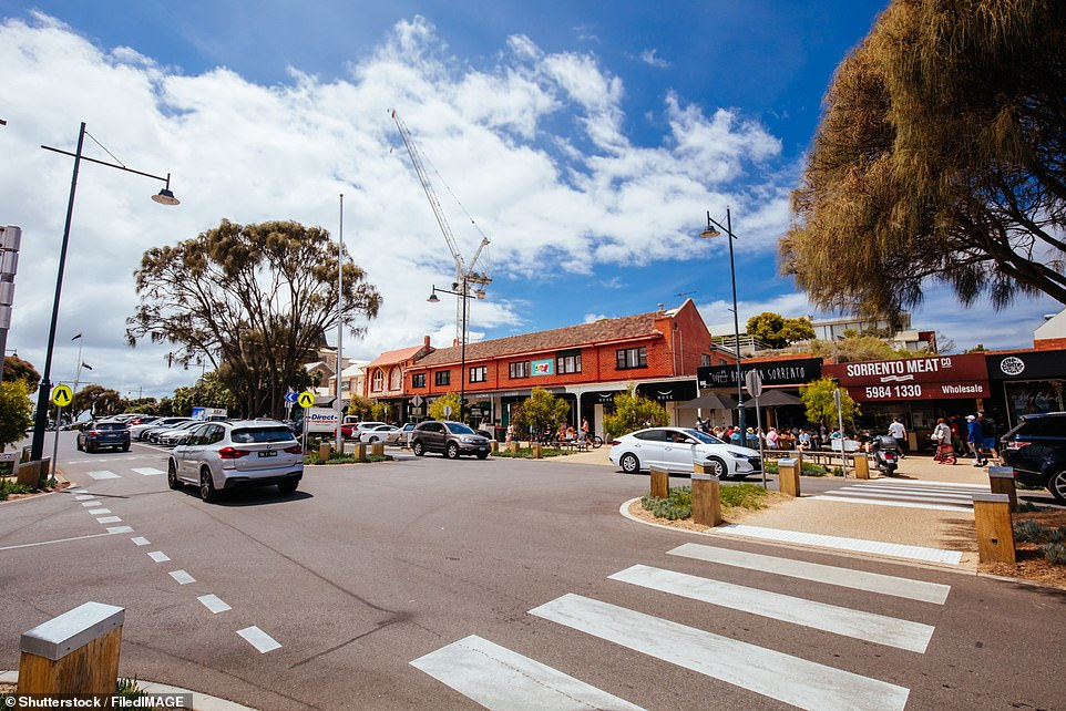 Sleepy: The family are visiting beach-side town of Sorrento in Victoria (pictured) which has a population of just 1,592 people