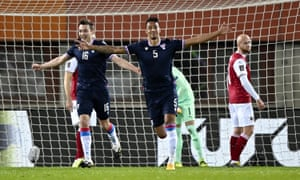 Faroe Islands take a shock lead after Sonni Nattestad (C) scored the opening goal.