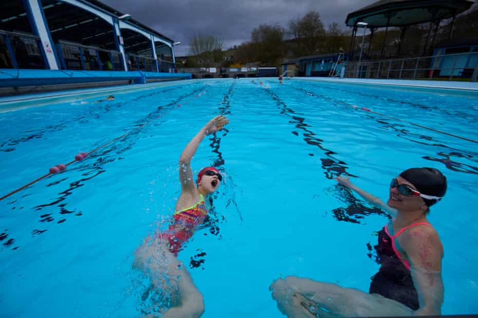 Lucienne Turner |(11) and her mum Elizabeth, the first swimmers take the plunge as Hathersage Pool in the Derbyshire Peak District reopens