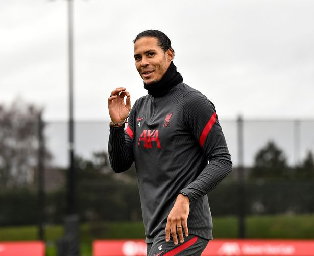 Virgil van Dijk of Liverpool during a training session at AXA Training Centre on February 24, 2021 in Kirkby, England.