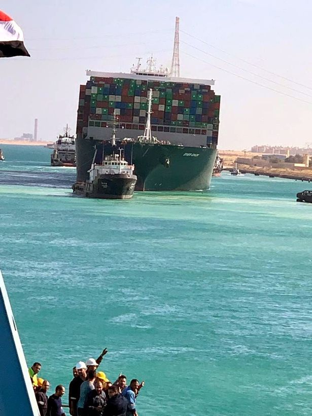 The Ever Given container ship after it was refloated today