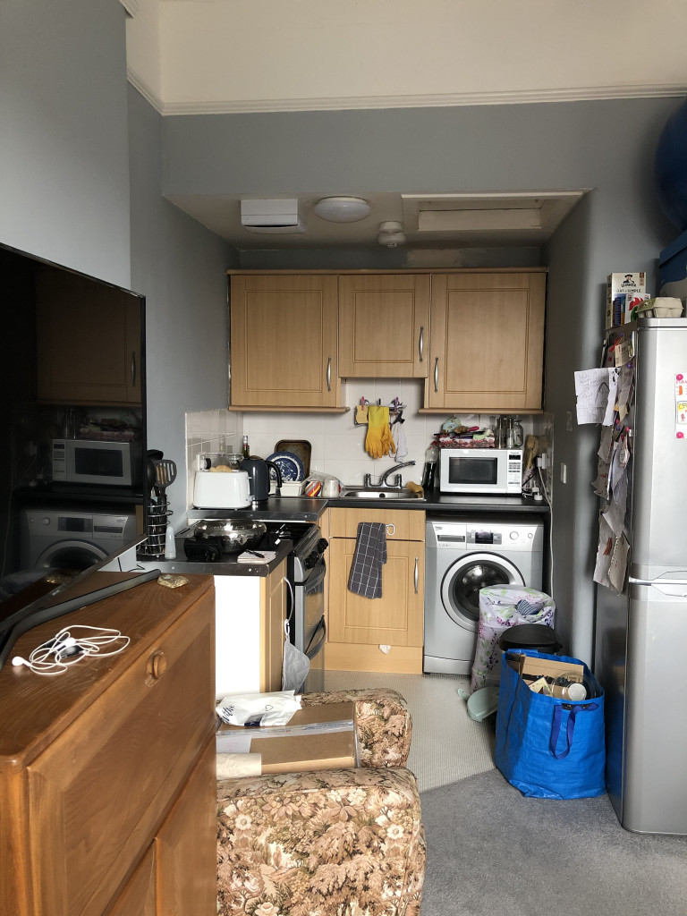 What I Rent: Elizabeth, a one-bedroom flat in Glasgow - fridge and kitchen in flat