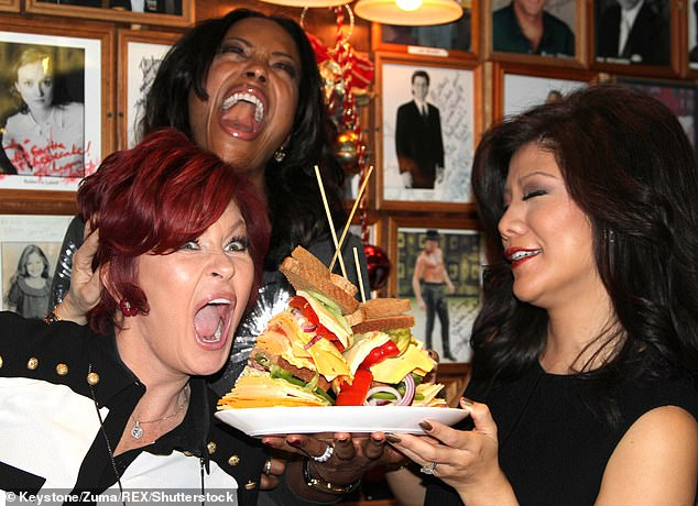 Outrage: Sharon (left) furiously denied allegations that she called former co-host Julie Chen (right) 'wonton' and 'slant eyes' behind the scenes at The Talk