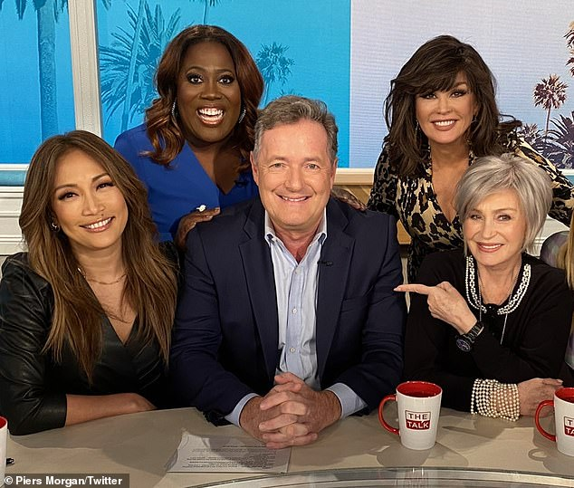 All together: Sharon (far right) and Underwood (second from left) got into a heated exchange over Sharon's support for her friend Piers Morgan (third from left), who has come under fire for comments he made about Meghan Markle and Prince Harry
