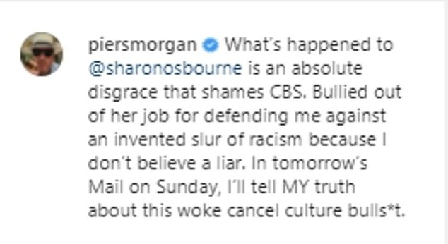 Defence: The former Good Morning Britain (GMB) presenter backed Sharon after she left The Talk over a heated on-air debate on March 10, which sent the production into a hiatus that has lasted two weeks
