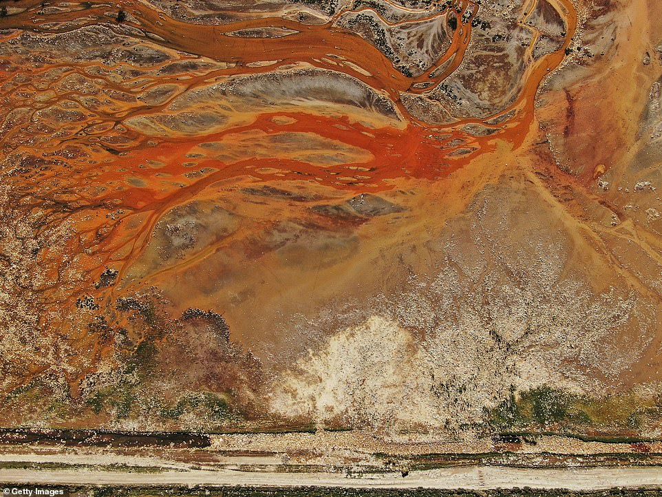 The lake's water is tinged black and brown because heavy metals such as cadmium, zinc, and arsenic have leached from nearby mines into the reservoir