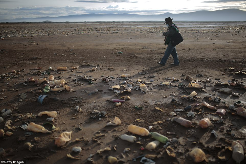 The lake used to have a surface area of214 km², but much of the water was lost in a lengthy drought in 2016 (pictured, Roberto Tarqui walks over the rubbish)