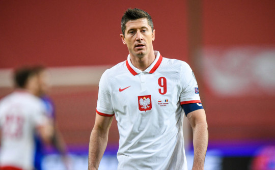 Robert Lewandowski looks on during Poland's clash with Andorra