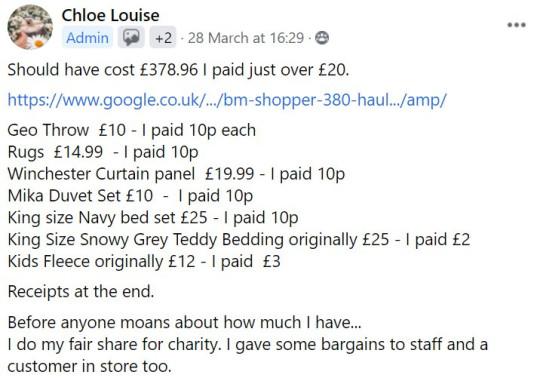 a facebook post about a bargain B&M haul