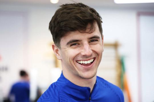 Mason Mount looks on in England training