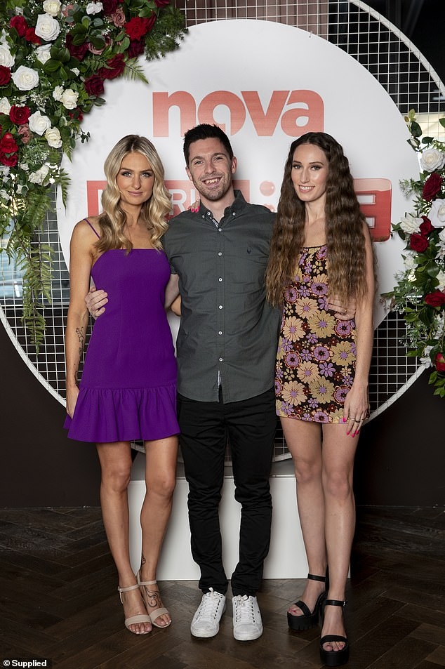 Reality TV stars: The couple were also joined by Joanne Todd (left), who showed off her tiny figure in a purple mini dress