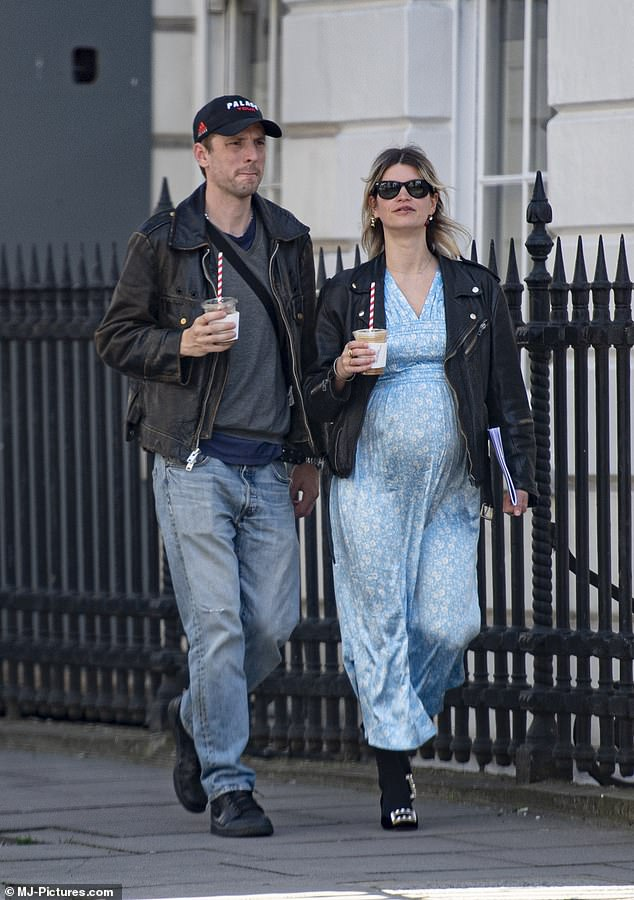 Glamorous: The daughter of Bob Geldof teamed the look with a leather jacket, black tights and suede kitten heels which were embellished with silver buckles
