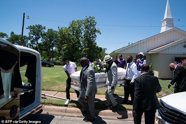 In the second report, of 378,000 death certificates, 5.5% listed COVID-19 as the sole cause of death. Pictured: A casket carrying the body of Lola Simmons, who died of coronavirus, is placed into a hearse following a funeral service in Dallas, Texas on July 2020