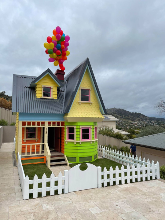 Scott's playhouse version, with some balloons attached like in the film