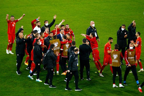 North Macedonia players celebrate their shock win in Germany.