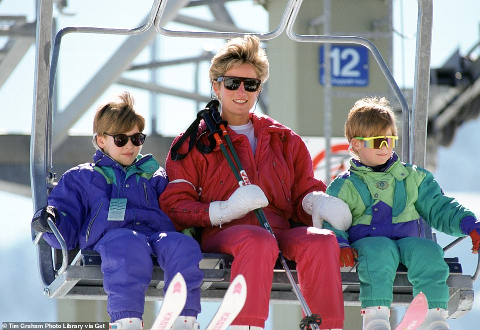 Family: The biopic is set over one weekend in 1991 and will focus on Diana's love for her two sons and decision to leave Prince Charles (pictured skiing with the two Princes in Austria in 1991)