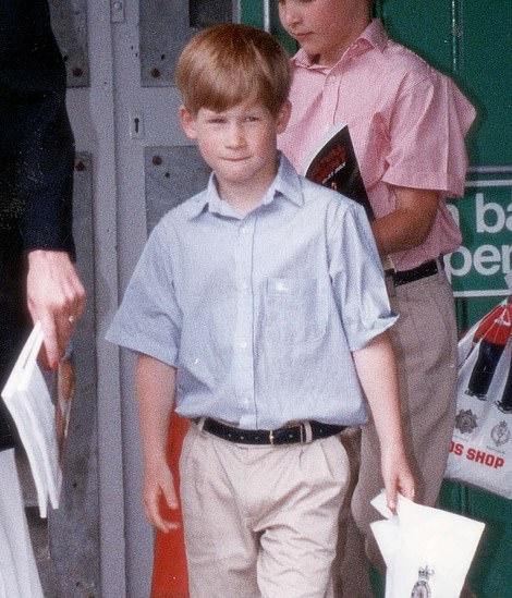 Childhood: Prince Harry's blonde locks were recreated perfectly by the actor playing him in Spencer (Prince Harry is pictured leaving leaving Earl's Court in 1991)