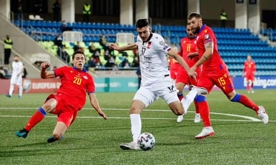 Albania's Armando Broja shoots at Andorra's goal in their midweek 1-0 World Cup qualifying win.